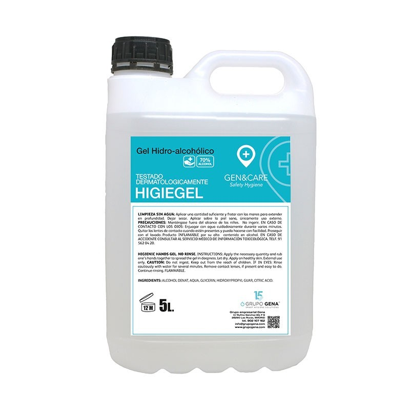 GEL HIDROALCOHOLICO HIGIEGEL MANOS 5 L
